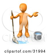 Clipart Illustration Of A Miserable Orange Person Mopping A Dirty Floor And Shrugging