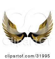 Pair Of Yellow Bird Or Angel Wings Symbolizing Faith Or Freedom On A White Background