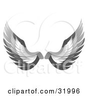 Clipart Illustration Of A Pair Of Gray Bird Or Angel Wings Symbolizing Faith Or Freedom On A White Background by elaineitalia #COLLC31996-0046