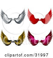 Set Of Four Gray Red Yellow And Pink Wings Symbolizing Freedom And Faith