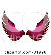 Pair Of Pink Bird Or Angel Wings Symbolizing Faith Or Freedom On A White Background
