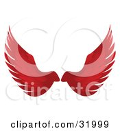 Pair Of Red Bird Or Angel Wings Symbolizing Faith Or Freedom On A White Background