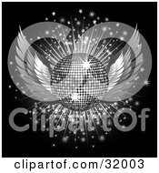 Clipart Illustration Of A Silver Winged Disco Ball On A Bursting Sparkly Background Over Black
