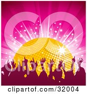 Clipart Illustration Of A Silhouetted Audience Dancing With Their Arms In The Air In Front Of A Yellow Disco Ball On A Pink Background With A Burst Of Stars by elaineitalia
