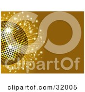 Clipart Illustration Of A Golden Disco Ball With Sparkles On A Brown Background