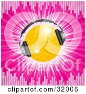 Clipart Illustration Of A Yellow Disco Ball Wearing Headphones On A Bursting Pink Background Bordered By Equalizer Lines