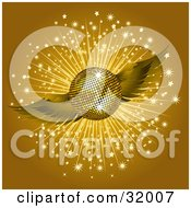 Clipart Illustration Of A Golden Winged Disco Ball On A Brown Background With A Burst Of Sparkles