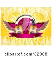 Pink Winged Disco Ball Wearing Headphones Behind Two Yellow Speakers And A Blank Banner On A Bursting Yellow Background With Equalizer Bars
