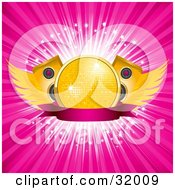Clipart Illustration Of A Yellow Disco Ball With Speakers And Wings On A Pink Banner Over A Bursting Pink Background