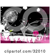 Clipart Illustration Of A Silver Disco Ball Wearing Headphones On A Black Background With White Grunge Splatters And A Record Player With Pink Dots And Equalizer Bars by elaineitalia