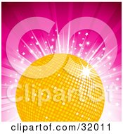 Clipart Illustration Of A Shiny Yellow Disco Ball On A Bursting Pink Background With Stars