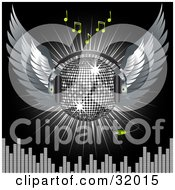 Clipart Illustration Of A Silver Disco Ball With Wings And Headphones Over A Black Background With A Burst Of Light Green Music Notes And Equalizer Bars