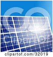 Clipart Illustration Of Sunlight Bouncing Off Of A Blue Solar Panel Against A Clear Blue Sky