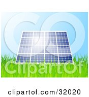 Clipart Illustration Of Sunshine Reflecting Off Of A Blue Solar Panel Propped Up In A Grassy Field