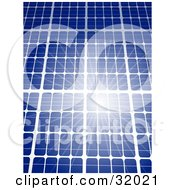 Clipart Illustration Of A Bright Sunlight Reflecting Off Of A Blue Solar Panel Symbolizing Renewable And Green Energy