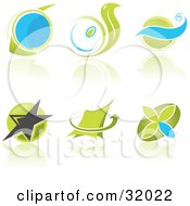 Set Of Six Blue And Green Business Logos With Circles Waves Stars And Arrows And Reflections