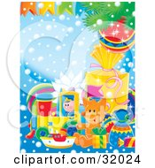 Clipart Illustration Of A Group Of Toys And Gifts Under A Christmas Tree Branch On A Blue Background With Snow And Banners