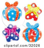 Clipart Illustration Of A Set Of Four Round And Star Shaped Gifts Wrapped In Star Paper And Bows