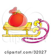 Clipart Illustration Of A Red Toy Sack On Top Of A Wooden Sleigh With A Pink Rope On A White Background