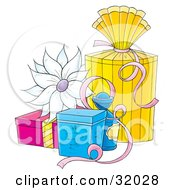 Clipart Illustration Of A White Flower On Yellow Blue And Pink Gifts With Ribbons On A White Background