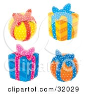Clipart Illustration Of A Set Of Four Round And Cubed Yellow Orange And Blue Gifts With Ribbons And Bows On A White Background