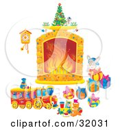 Bunny Rabbit By Toys And Christmas Presents Looking At A Cuckoo Clock Hanging Near A Fireplace