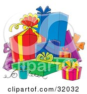 Clipart Illustration Of A Group Of Blue Red Green Pink And Purple Gifts Ribbons And Bows