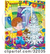 Clipart Illustration Of A Happy Little Boy And His Puppy Running Around A White Flocked Christmas Tree On Christmas