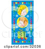 Clipart Illustration Of Two Children With A Gift And Ornaments On A Blue Background With Snowflakes Bordered By Colorful Squares And Circles