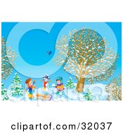 Clipart Illustration Of Two Children Making Snowballs And Playing Near A Snowman A Bird Flying Above On A Sunny Winter Day