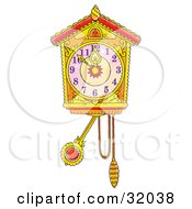 Clipart Illustration Of A Ticking Cuckoo Clock At A Few Minutes Till Midnight On New Years Eve