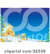 Clipart Illustration Of A Well And Snowman In The Front Yard Of A Home On A Winter Day With Snow On The Ground And Clear Blue Skies