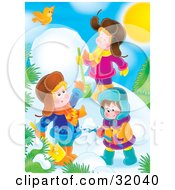 Clipart Illustration Of A Yellow Bird Flying Over Three Children Digging In Snow And Making A Snowman On A Sunny Winter Day by Alex Bannykh