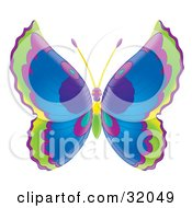 Clipart Illustration Of A Butterfly With Green Purple And Blue Wings And A Purple Yellow And Green Body