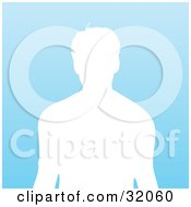 Clipart Illustration Of A Male Silhouetted In White From The Waist Up Over A Gradient Blue Background