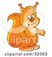 Clipart Illustration Of A Cute Orange Squirrel Gesturing While Talking by Alex Bannykh