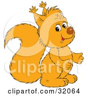 Clipart Illustration Of A Yellow Squirrel Gesturing With His Hands Facing Right And Looking At The Viewer by Alex Bannykh