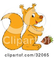 Clipart Illustration Of A Squirrel Glancing At The Viewer While Reaching For An Acorn