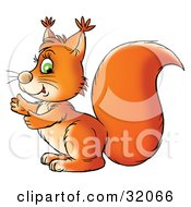 Clipart Illustration Of A Green Eyed Orange Squirrel Glancing At The Viewer While Facing Left by Alex Bannykh