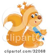 Clipart Illustration Of A Cute Squirrel Looking At The Viewer And Holding A Blue Pencil