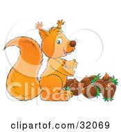 Clipart Illustration Of A Cute Squirrel Standing Above A Stash Of Acorns