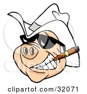 Clipart Illustration of a Grinning Pig Wearing Shades And A Cowboy Hat, Smoking A Cigar by LaffToon #COLLC32071-0065