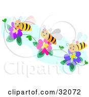 Clipart Illustration Of Three Happy Bees Collecting Pollen From Purple And Pink Flowers