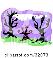 Clipart Illustration Of Three Black Trees With Eyes On A Grassy Hill Under A Purple Night Sky by bpearth