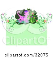 Pink And Purple Gecko With Flowers And Plants Above A Green Space For Text