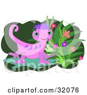 Purple And Pink Gecko Beside A Flowering Plant On A Green And White Background