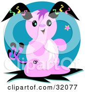Clipart Illustration Of A Pink Alien Bunny Rabbit With Black Ears Against A Blue Circle by bpearth