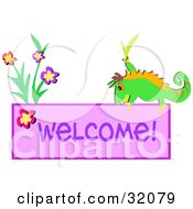 Green Chameleon By Flowers On A Welcome Sign