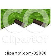Clipart Illustration Of Green 3d Sod Being Unrolled To Cover A Yard On A White Background by Frog974 #COLLC32080-0066