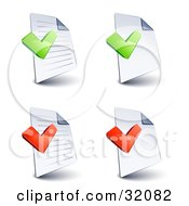 Set Of Four Lined And Blank Pages With Green And Red Check Marks On A White Background